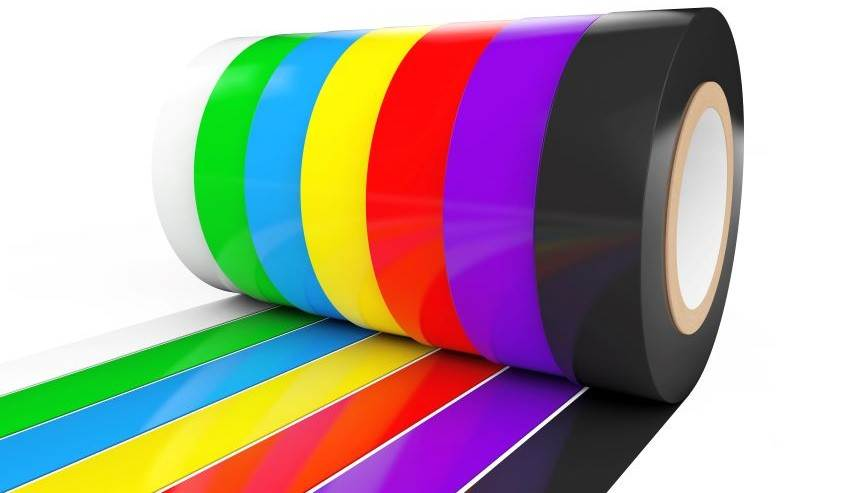 Bright color tape on a large roll